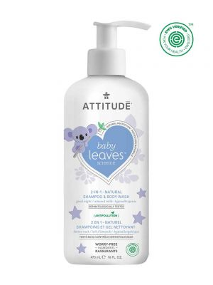 Attitude Baby Leaves 2 in 1 Shampoo and Body Wash 473ml - Almond Milk