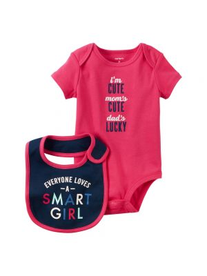 Baby Girl Slogan Bodysuit with Bib - Smart Girl