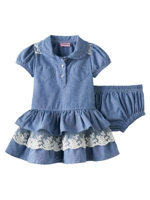 Baby Girl Nannette Chambray Tiered Skirt Dress