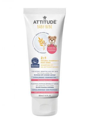 Attitude Sensitive Skin Care, BABY 2in1 Shampoo & Body Wash - Fragrance Free