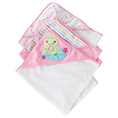 Just Born Hooded Towels 3pk - Frog