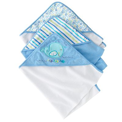 Just Born Hooded Towels 3pk - Whale