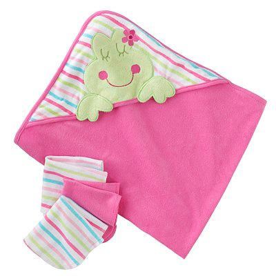 Just Born Hooded Towel & Washcloth Set - Frog