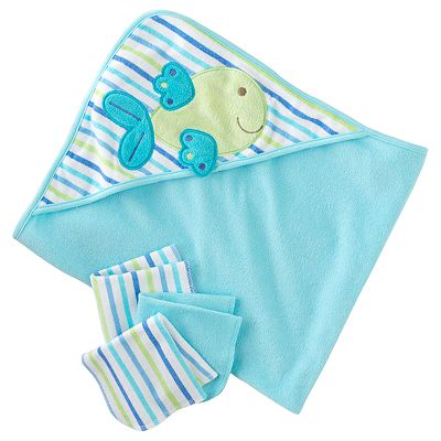 Just Born Hooded Towel & Washcloth Set - Whale